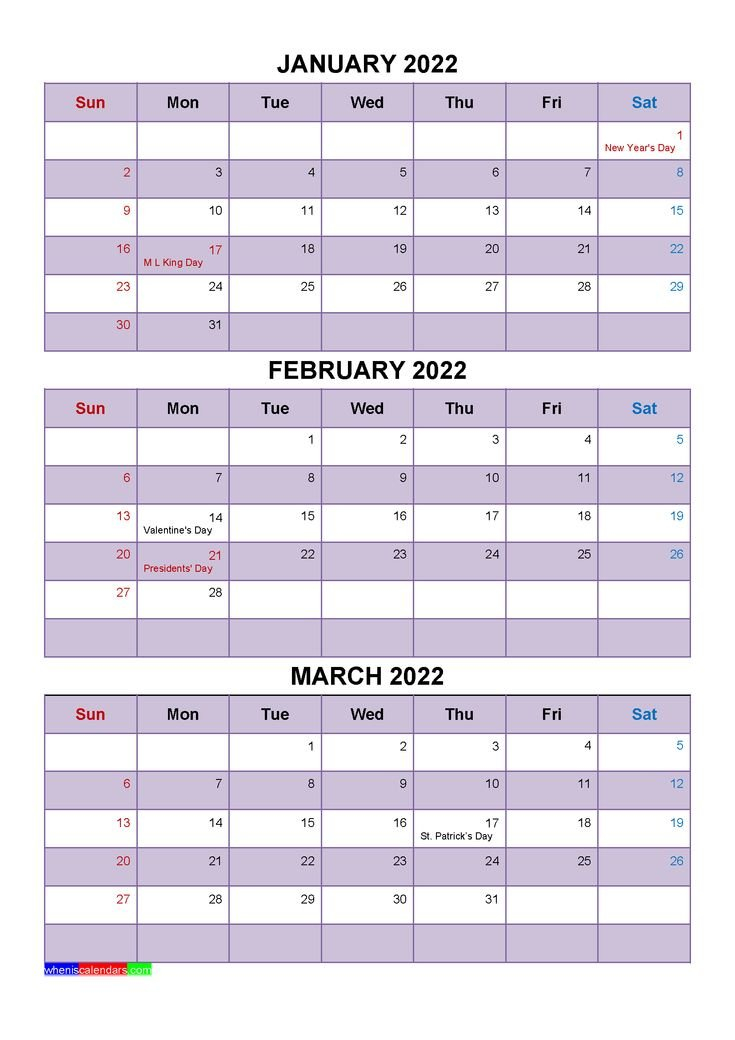 January February March 2022 Calendar With Holidays [Four with Print July 2022 Ckander