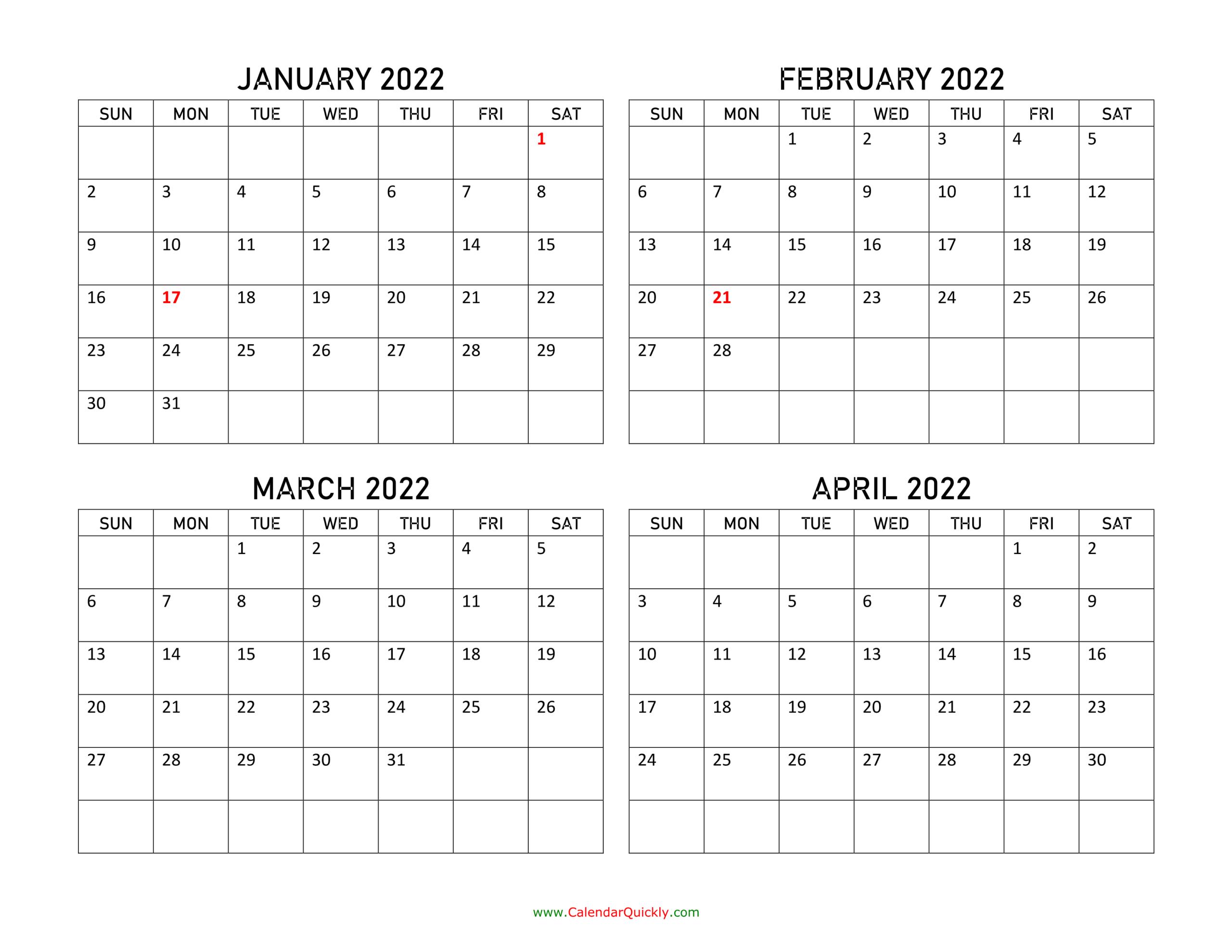January To April 2022 Calendar | Calendar Quickly inside Printable Calendar January 2022 Floral Image