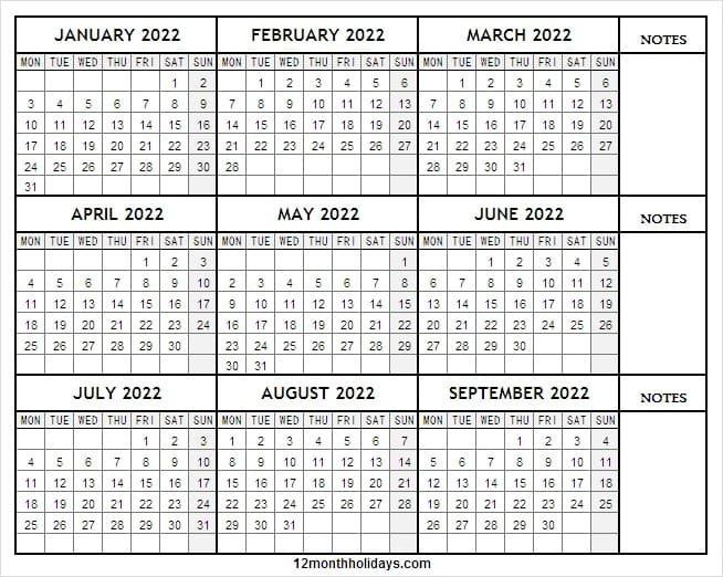 January To September 2022 Calendar - 2022 Blank Calendar with regard to Monthly Calendar September 2022 Graphics