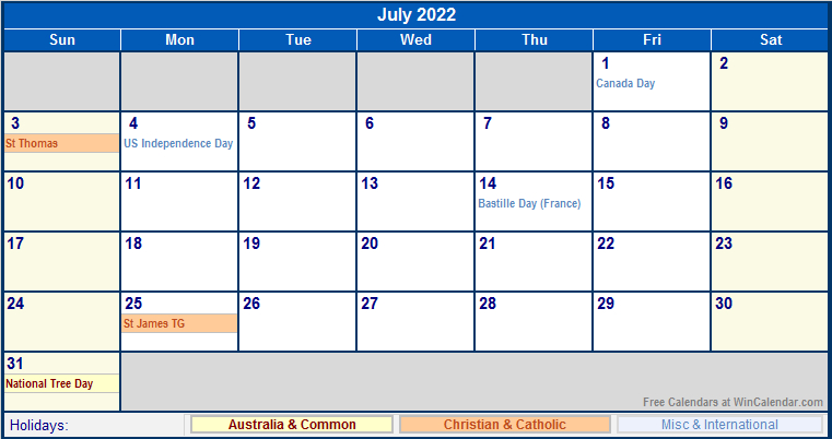 July 2022 Australia Calendar With Holidays For Printing with Print July 2022 Ckander