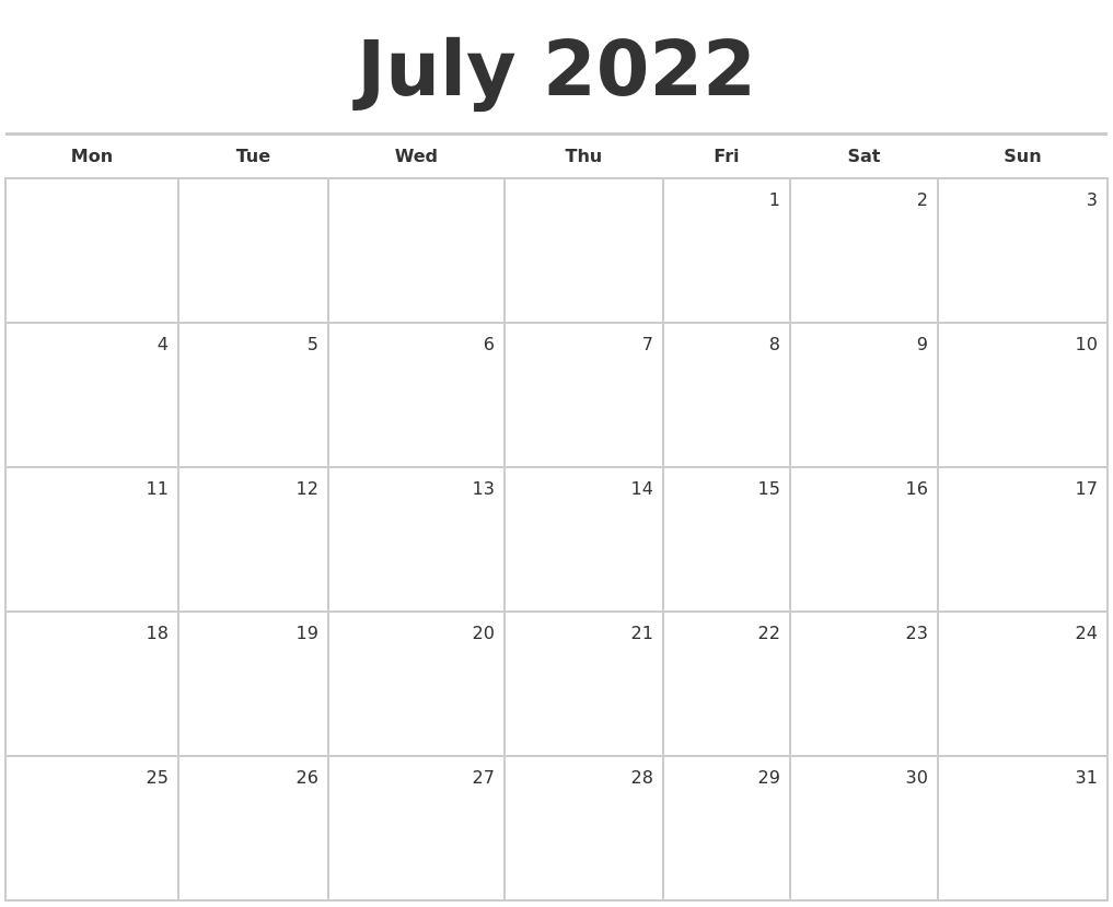 July 2022 Blank Monthly Calendar with regard to 2022 Weekly Planner Starting On Sundays