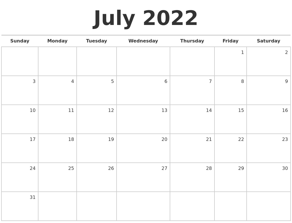 July 2022 Blank Monthly Calendar within Print July 2022 Calendar Graphics