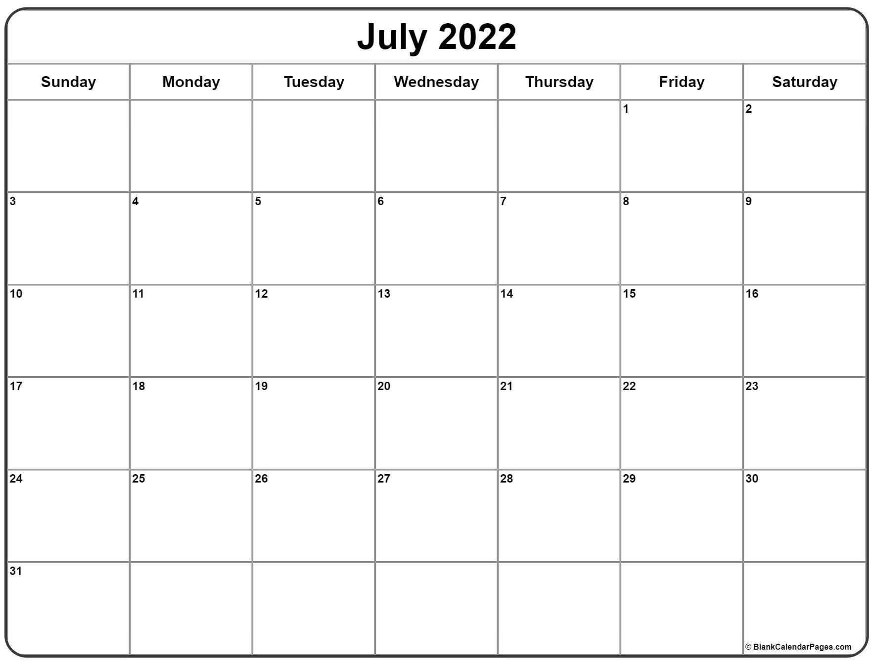 July 2022 Calendar | Free Printable Calendar Templates in Print July 2022 Ckander