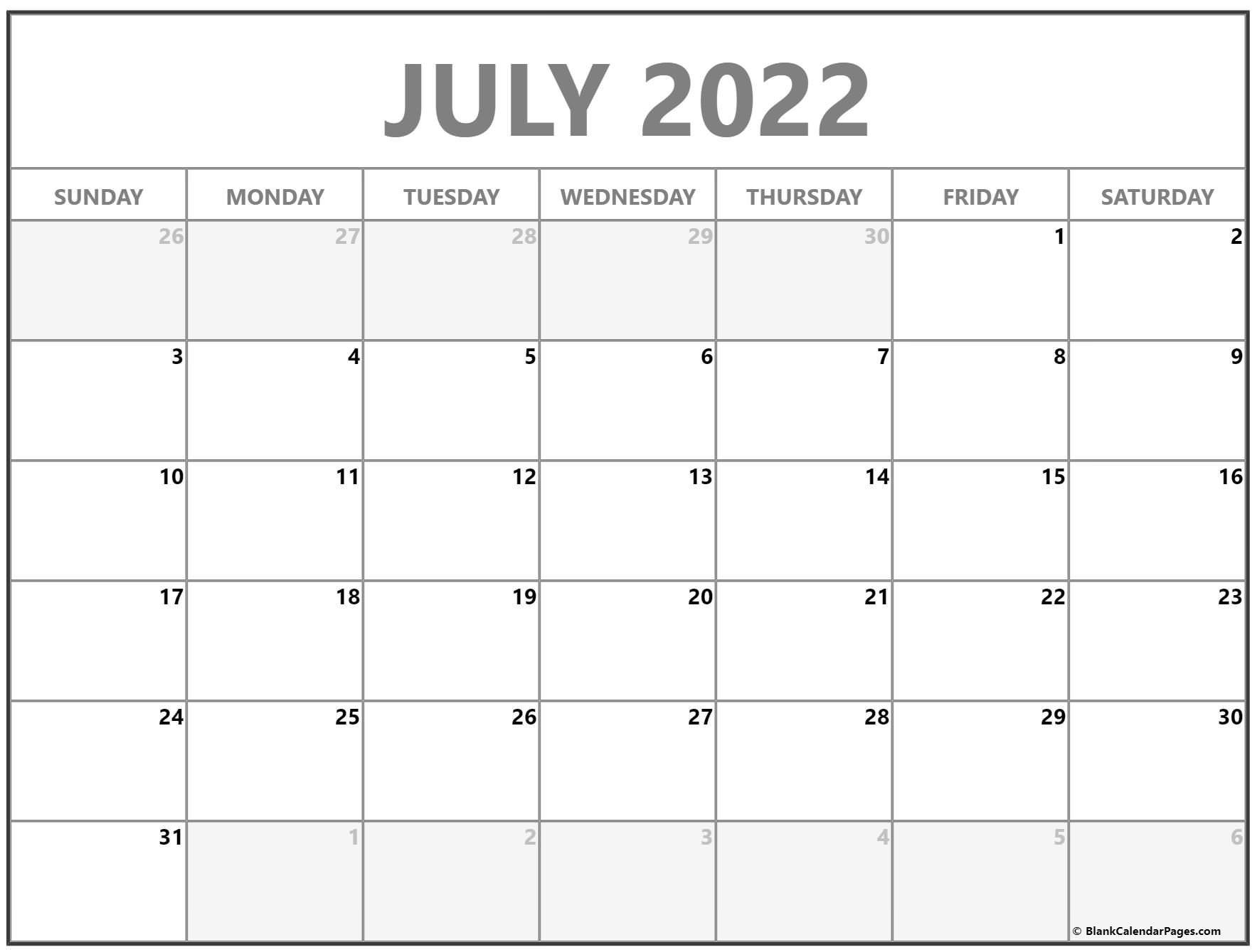 July 2022 Calendar | Free Printable Calendar Templates regarding Free Printable Monthly Planner 2022