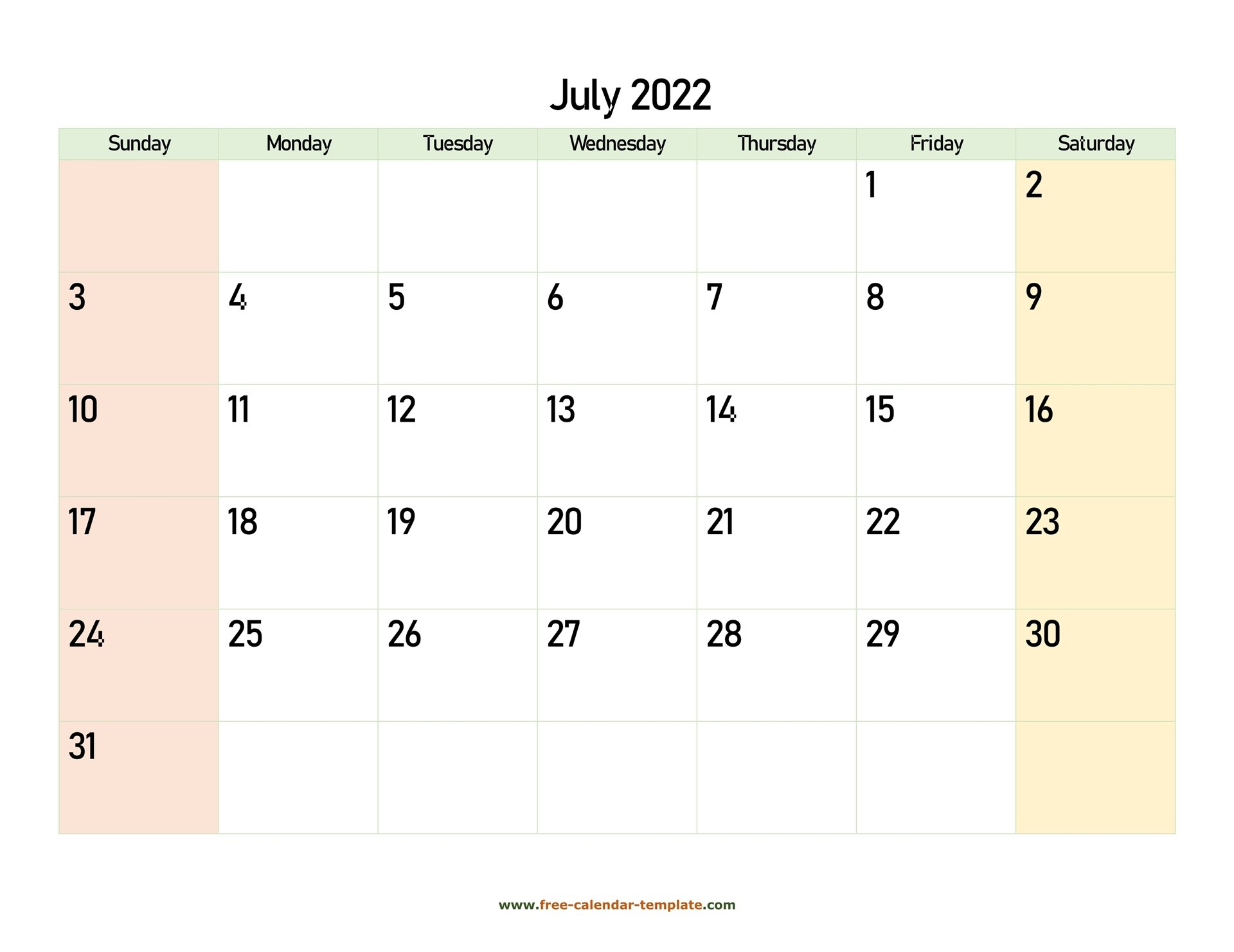 July 2022 Calendar Printable With Coloring On Weekend regarding Printable 2022 July Calendar Image