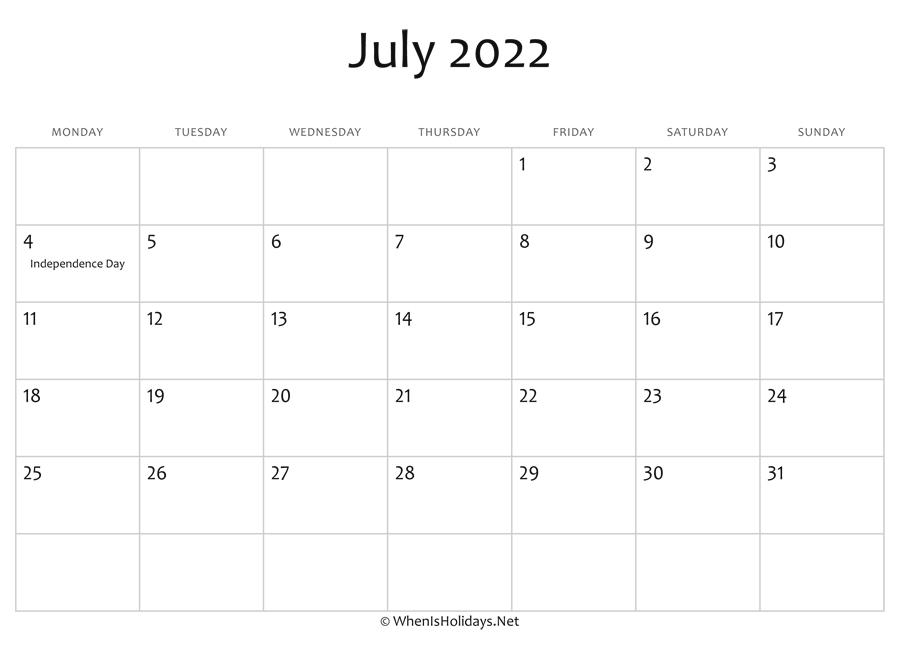 July 2022 Calendar Printable With Holidays pertaining to Printable 2022 July Calendar Image