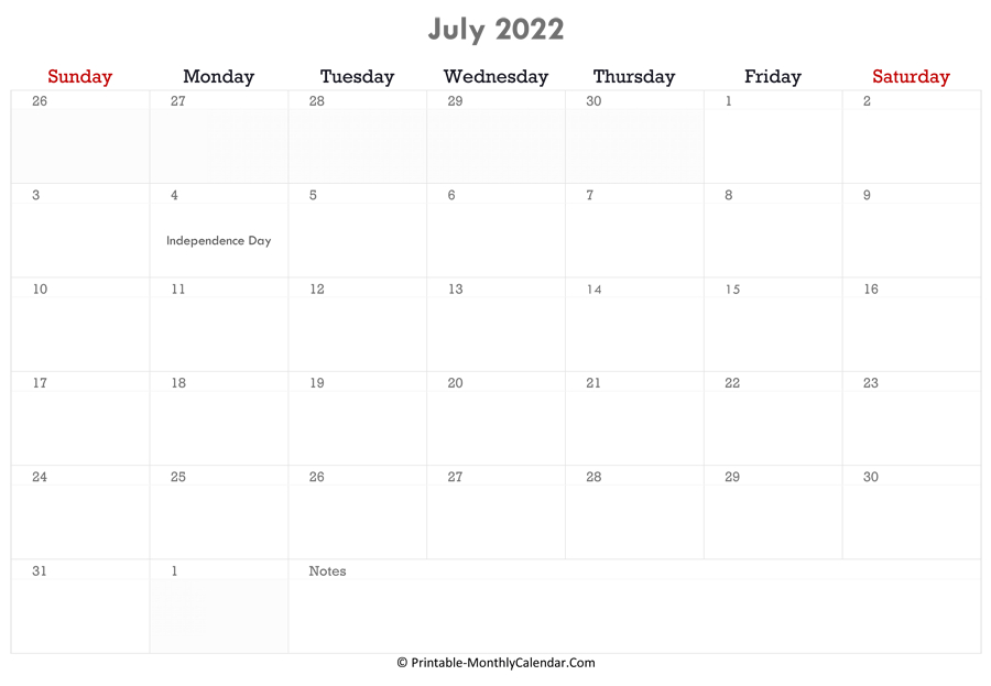 July 2022 Calendar Printable With Holidays with regard to Print July 2022 Ckander