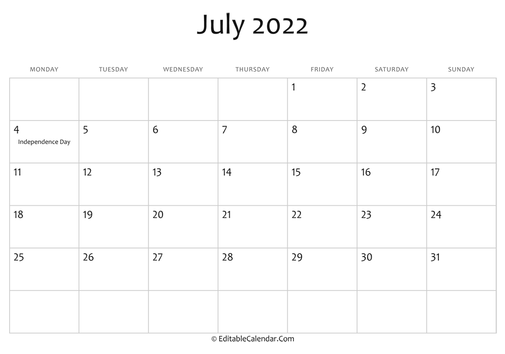 July 2022 Printable Calendar With Holidays intended for Print July 2022 Calendar Graphics
