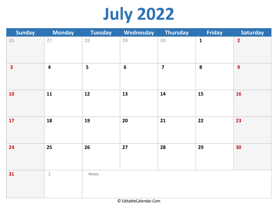 July 2022 Printable Calendar With Holidays within Blank Calendar Template July 2022 Image