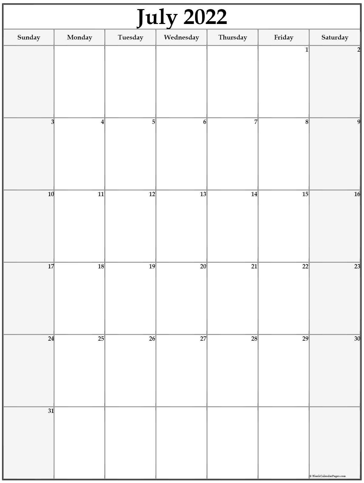 July 2022 Vertical Calendar   Portrait with Printable 2022 July Calendar Image