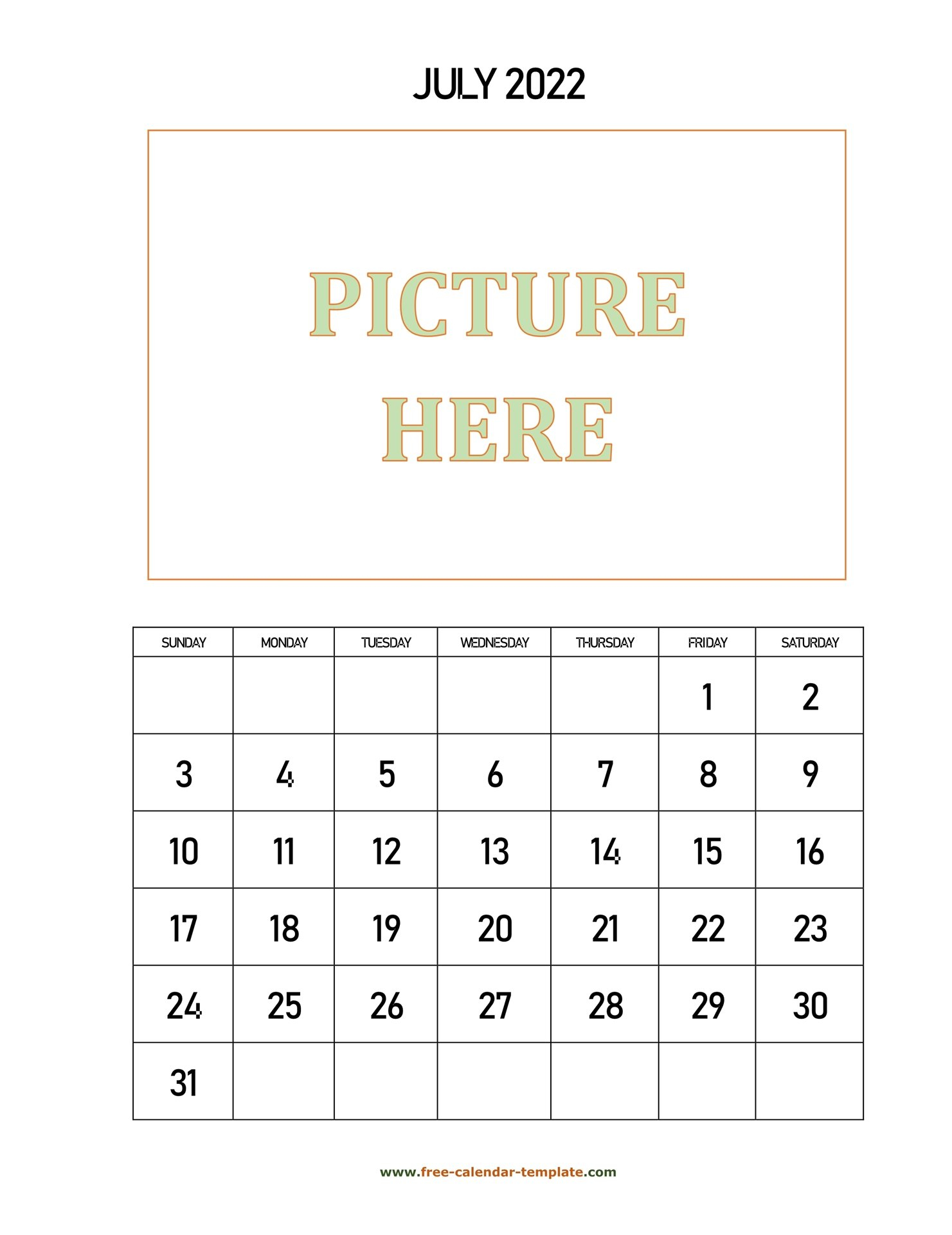 July Printable 2022 Calendar, Space For Add Picture with Print July 2022 Calendar Graphics