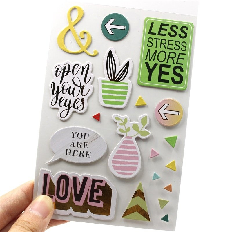 Kscraft Open Your Eyes 3D Self Adhesive Paper Stickers For pertaining to The Happy Planner Journaling Stickers