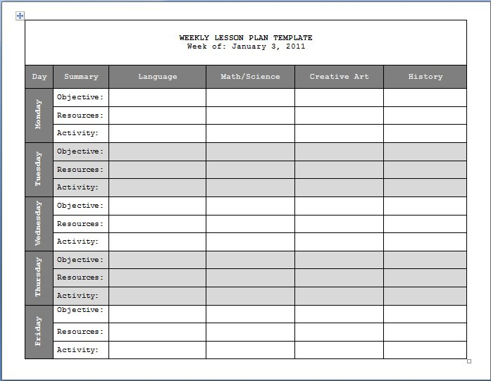 Lesson+Plan+Templates   Weekly Lesson Plan Template   Format & Template   Summer Learning throughout Weekly Planner For Teachers Template