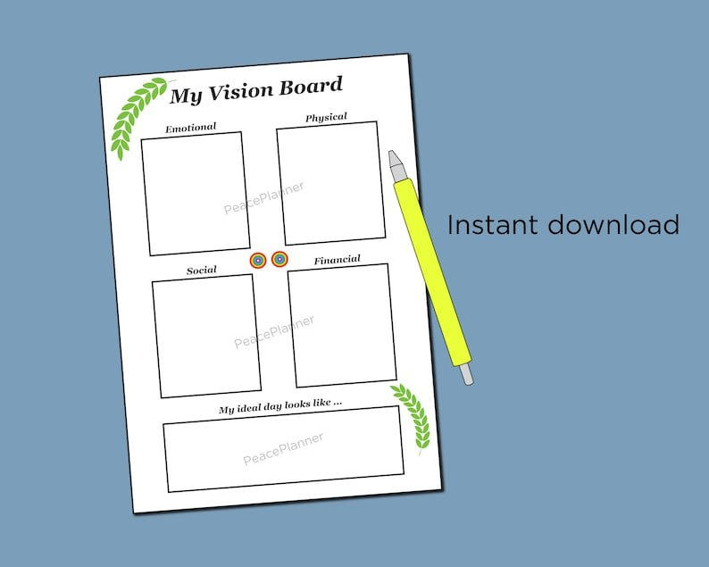 Life Planner Vision Board Template A4 Planner Vision Board with Design Your Life Planner Pdf Photo