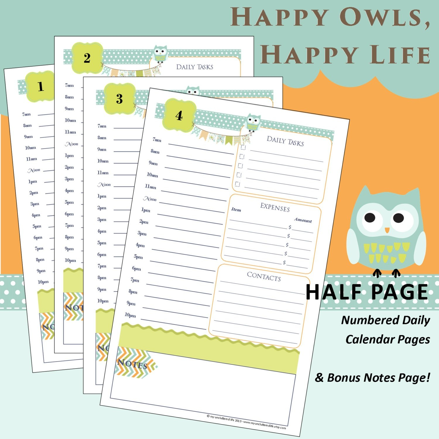 Limited Edition: Printable Daily Planner Pages Happy Owls inside Daily Planner Pages Printable
