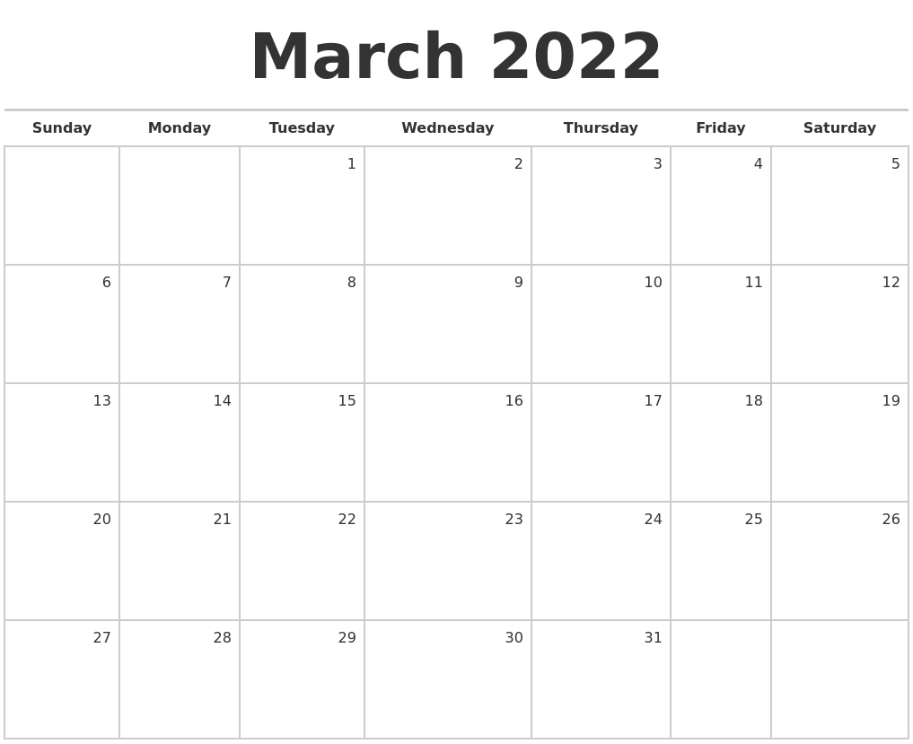 March 2022 Blank Monthly Calendar throughout 2022 March 2 Page Printable Calendar Image