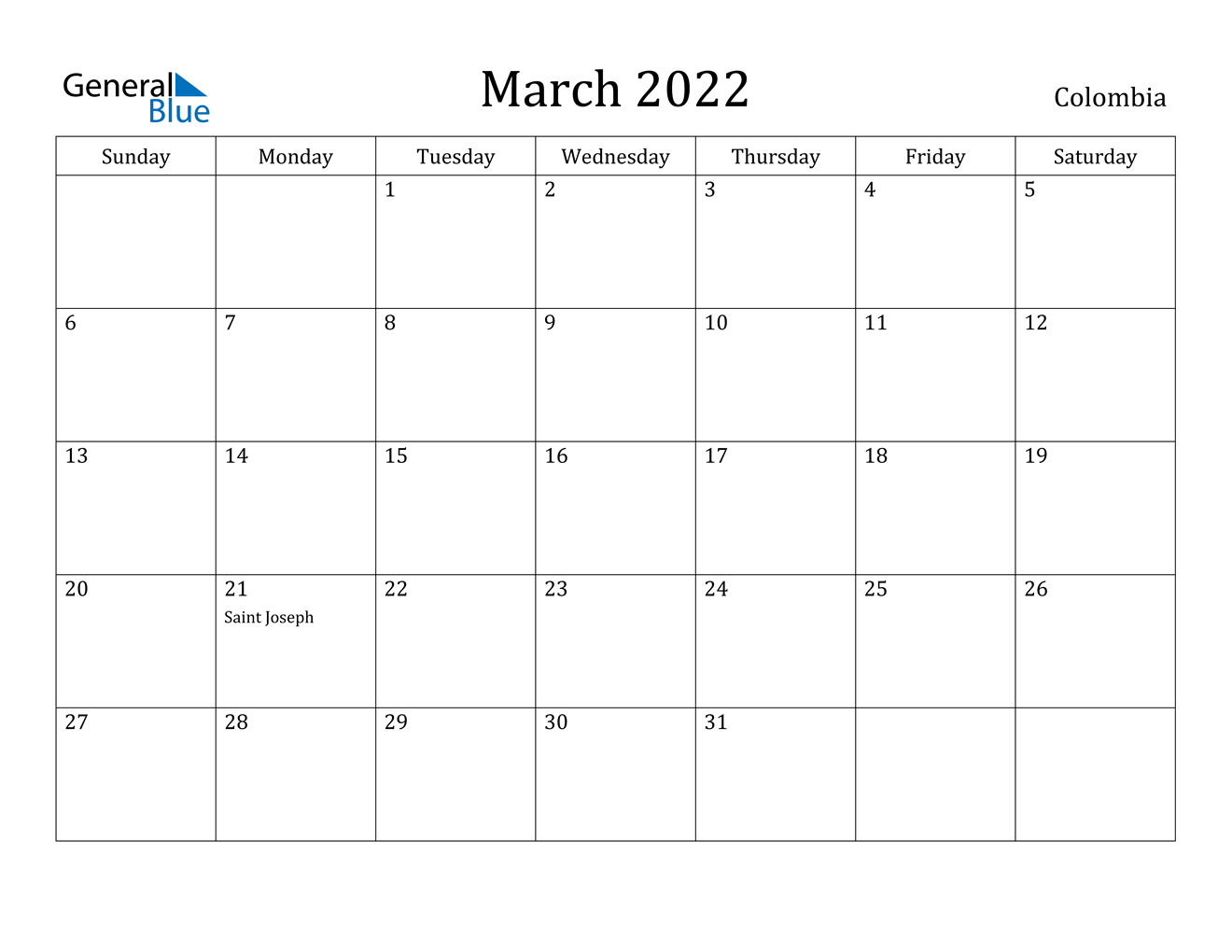 March 2022 Calendar - Colombia intended for March 2022 Calendar Template