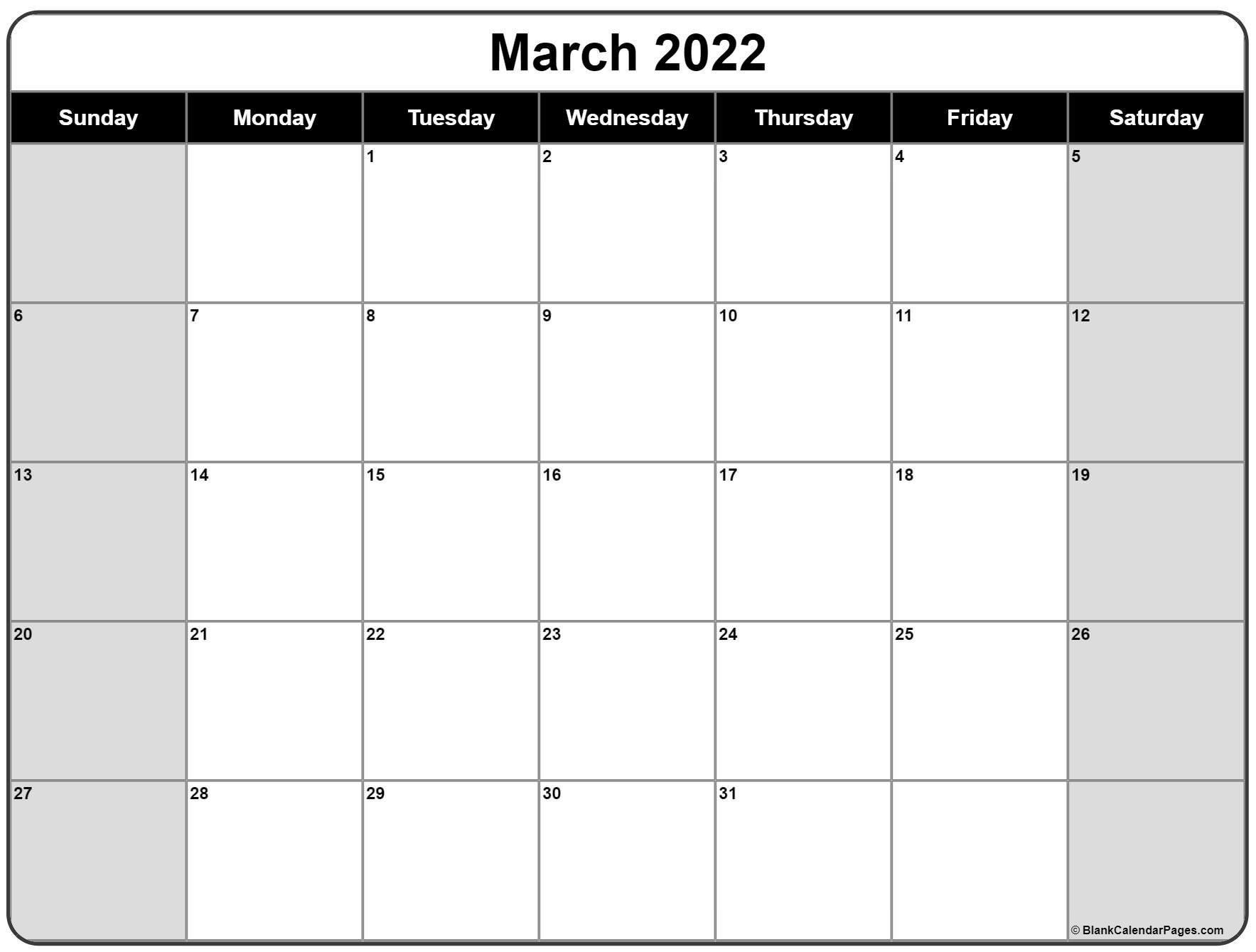 March 2022 Calendar | Free Printable Calendar Templates for Monthly Planner 2022 Printable Graphics