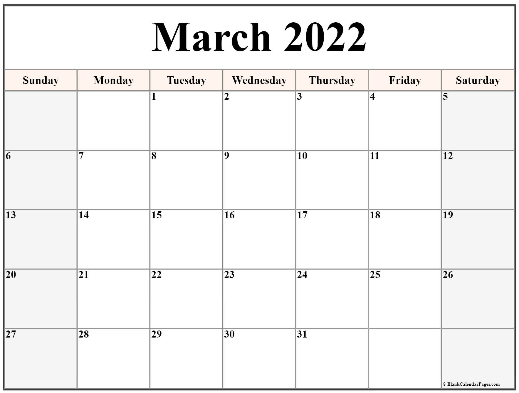 March 2022 Calendar | Free Printable Calendar Templates pertaining to March April 2022 Printable Calendar