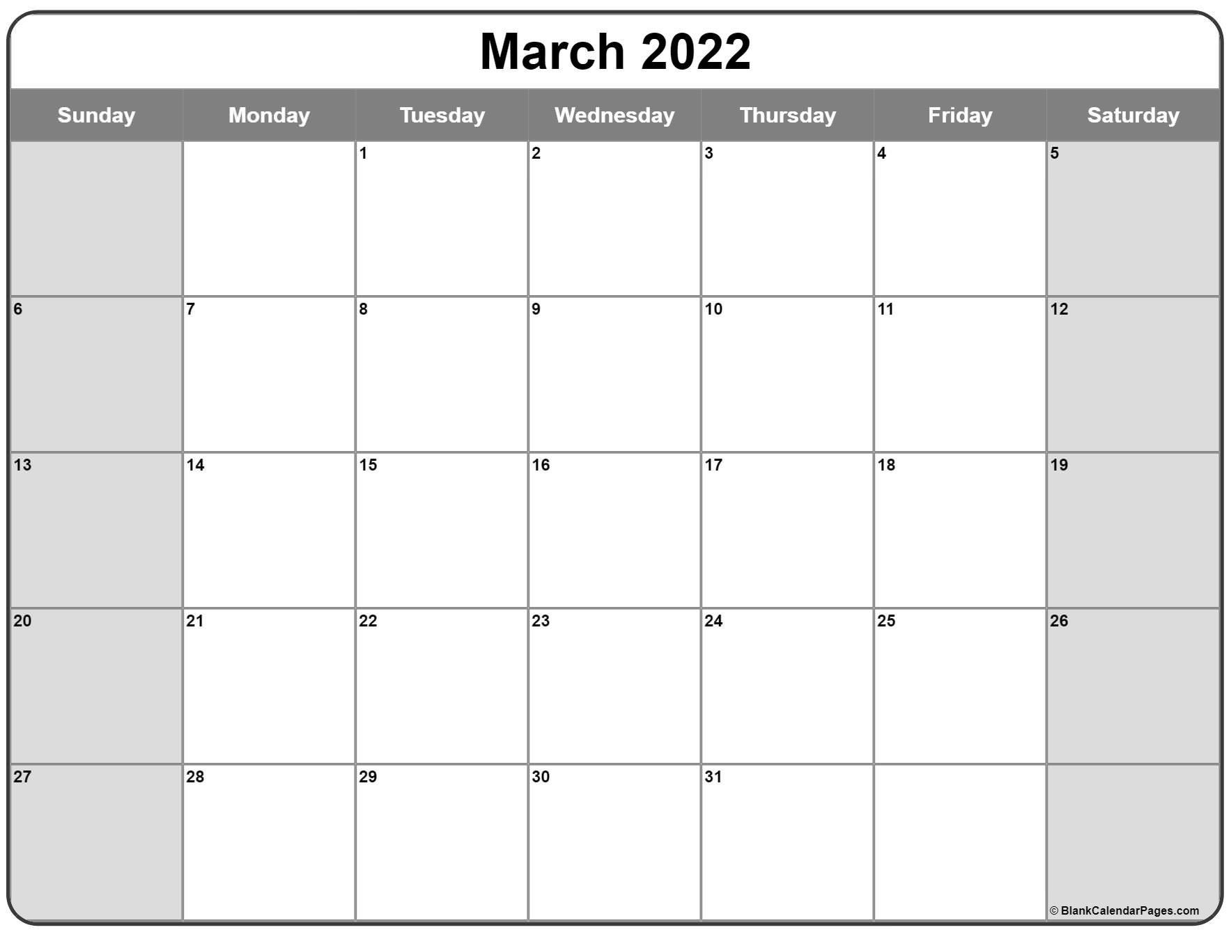 March 2022 Calendar   Free Printable Calendar Templates regarding Free Monthly Planner 2022 Graphics
