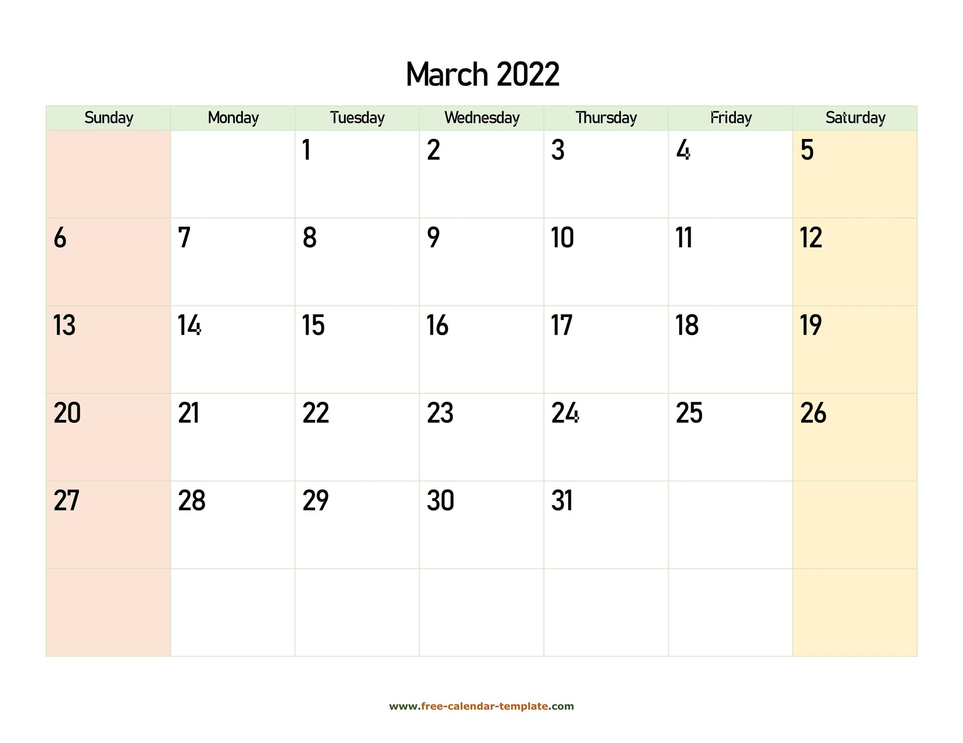 March 2022 Calendar Printable With Coloring On Weekend throughout March 2022 Calendar Template
