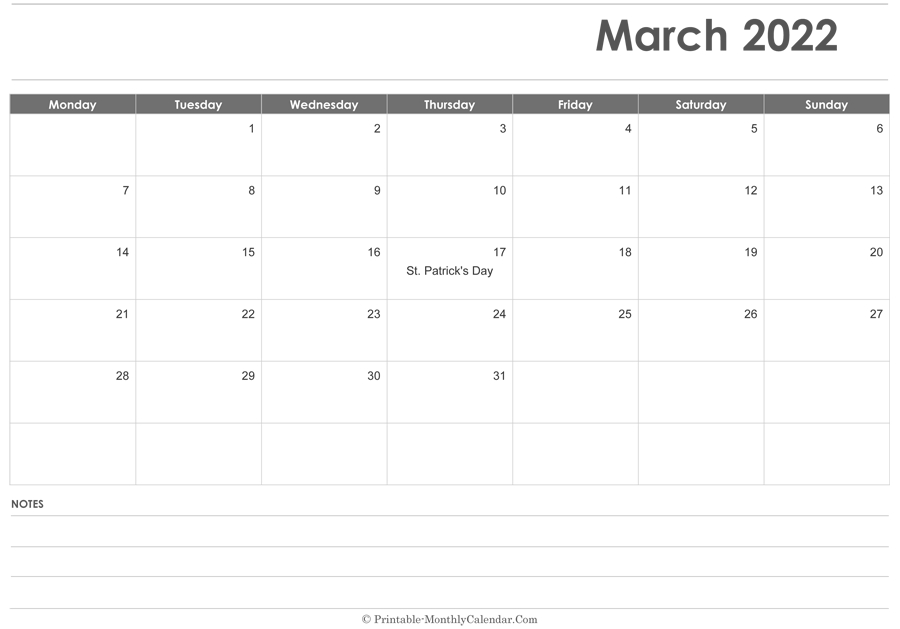 March 2022 Calendar Printable With Holidays throughout March 2022 Calendar Printable Photo