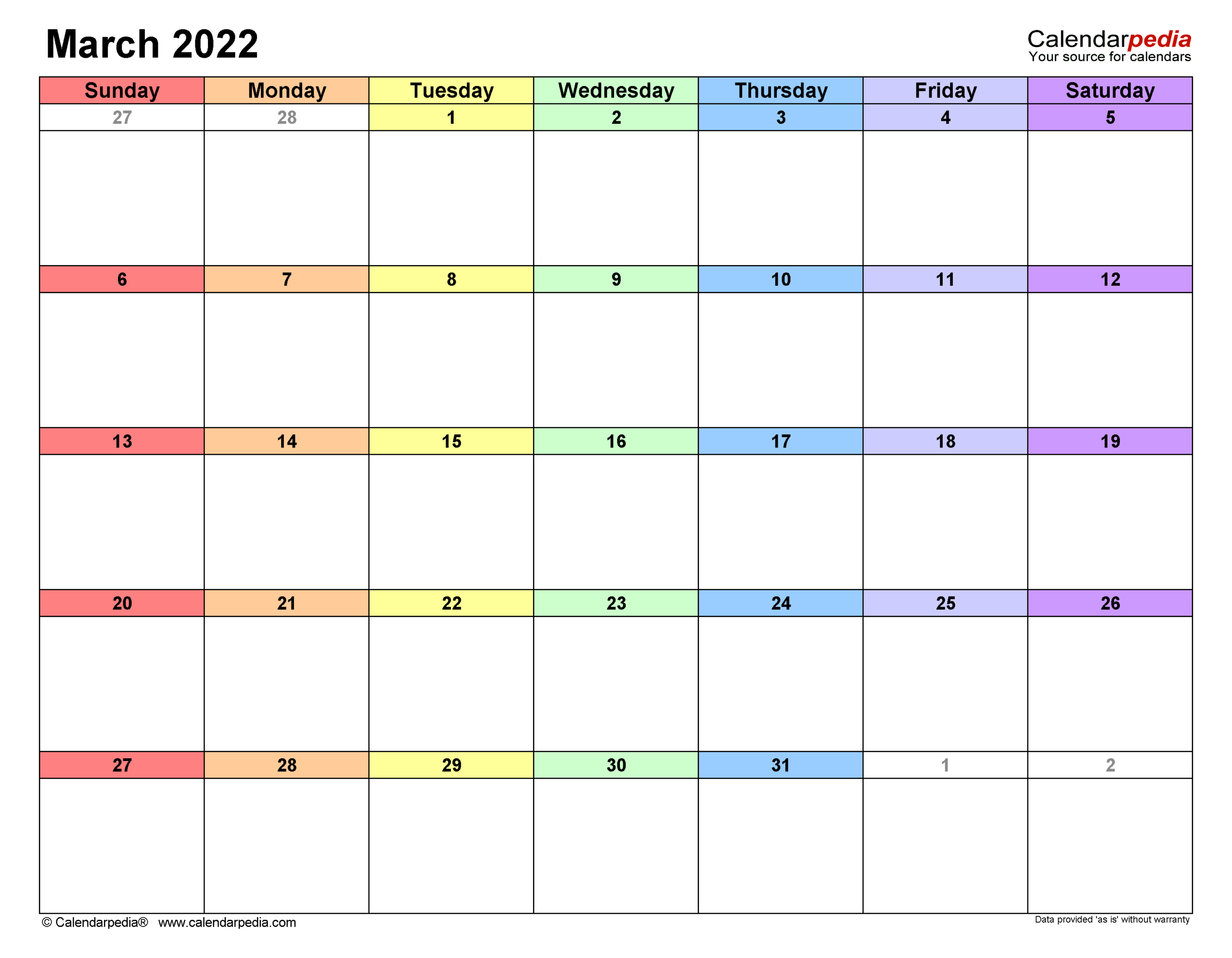 March 2022 Calendar   Templates For Word, Excel And Pdf inside March 2022 Calendar Printable