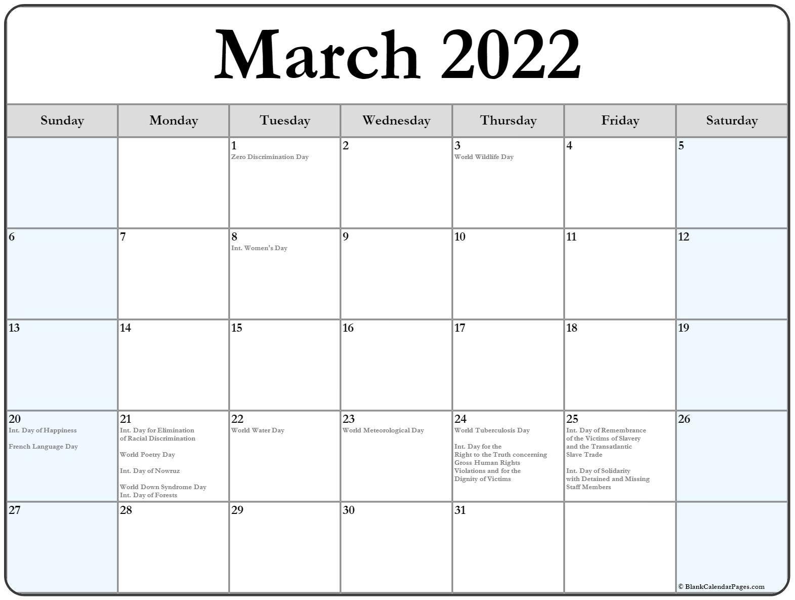 March 2022 Calendar With Holidays inside March April 2022 Printable Calendar Photo
