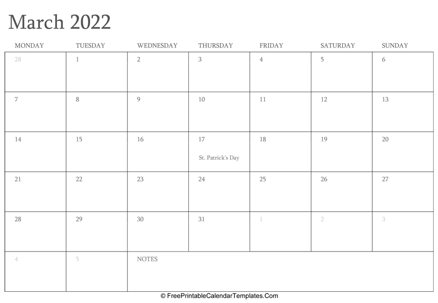 March 2022 Editable Calendar With Holidays And Notes inside March & April 2022 Calendar Free Printable Image