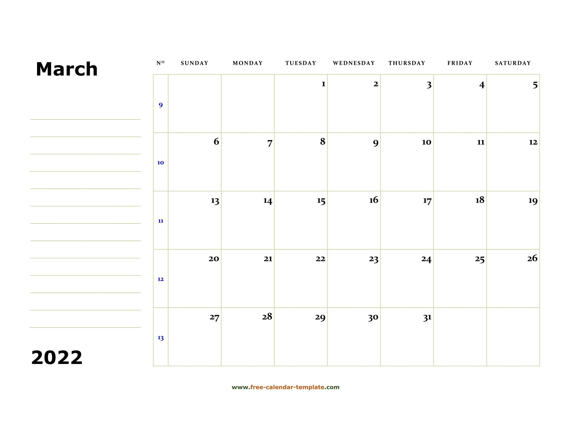 March 2022 Free Calendar Tempplate | Free-Calendar intended for March 2022 Calendar Template Image