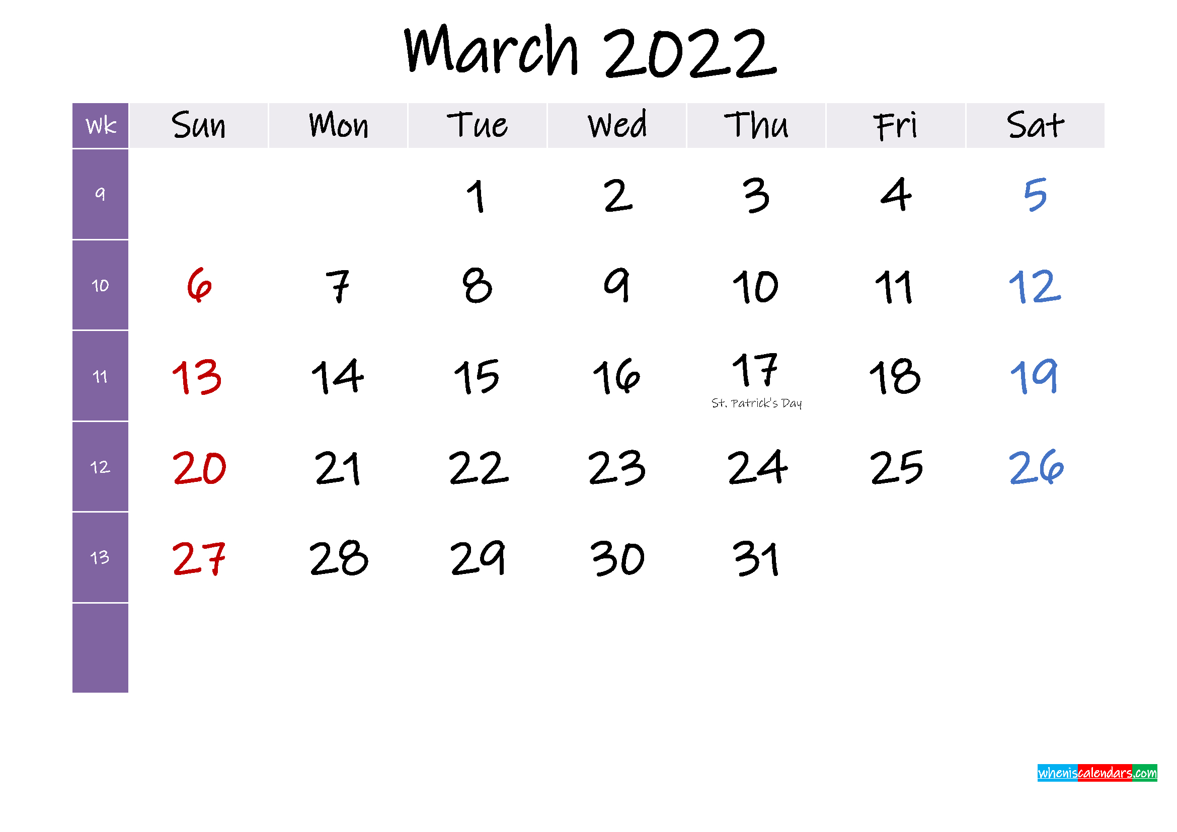 March 2022 Free Printable Calendar With Holidays intended for March 2022 Calendar Template Image