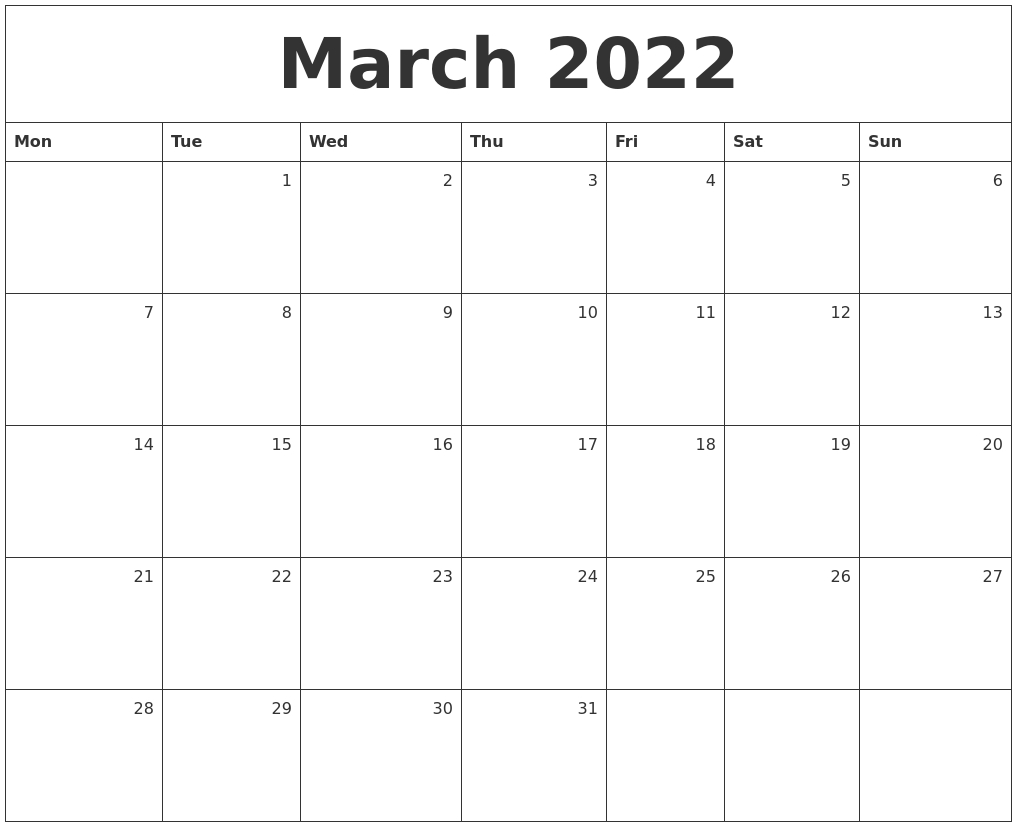 March 2022 Monthly Calendar for March April 2022 Printable Calendar Photo