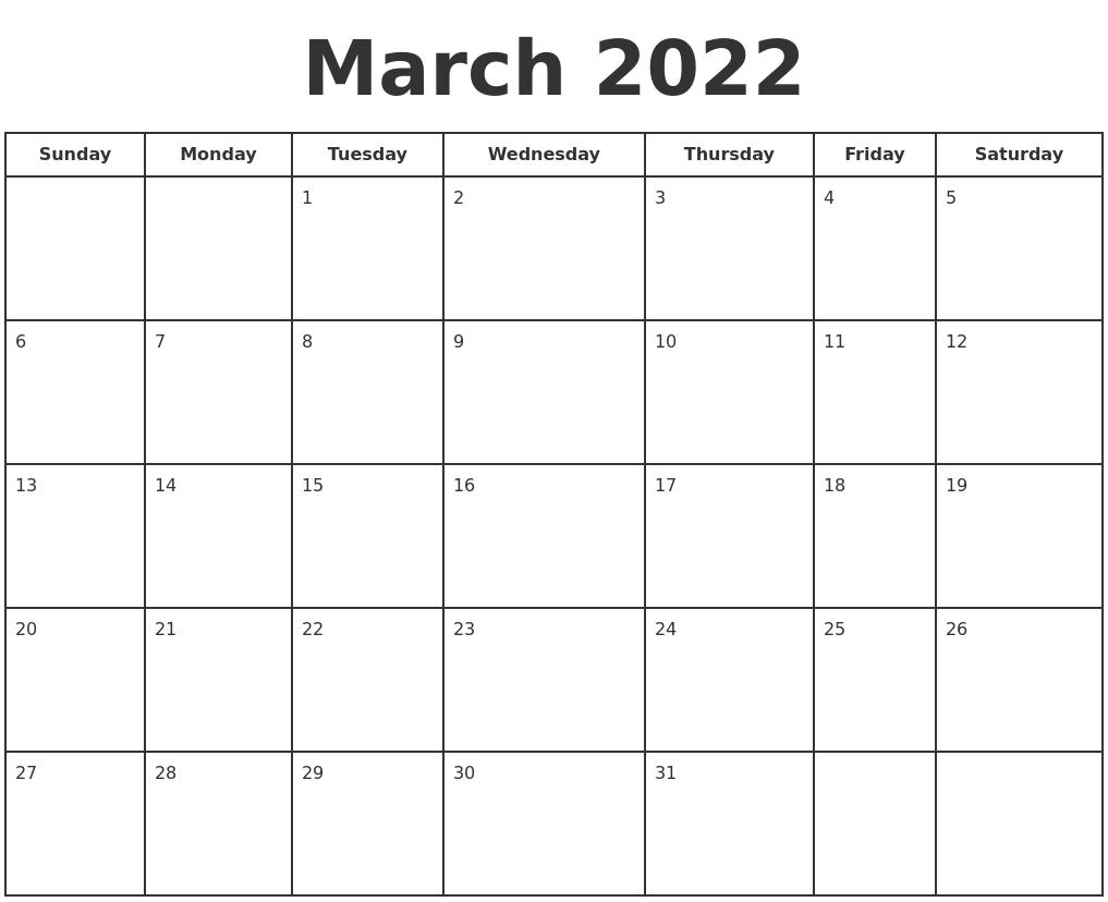 March 2022 Print A Calendar pertaining to March 2022 Calendar Printable Photo