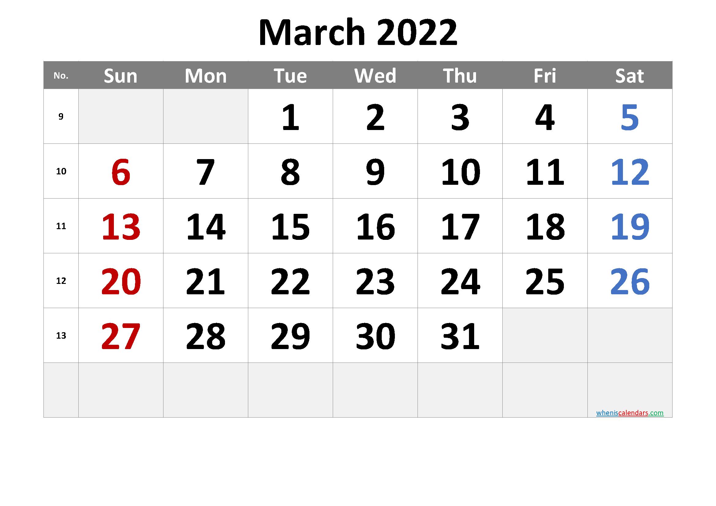 March 2022 Printable Calendar [Free Premium] for March 2022 Calendar Printable