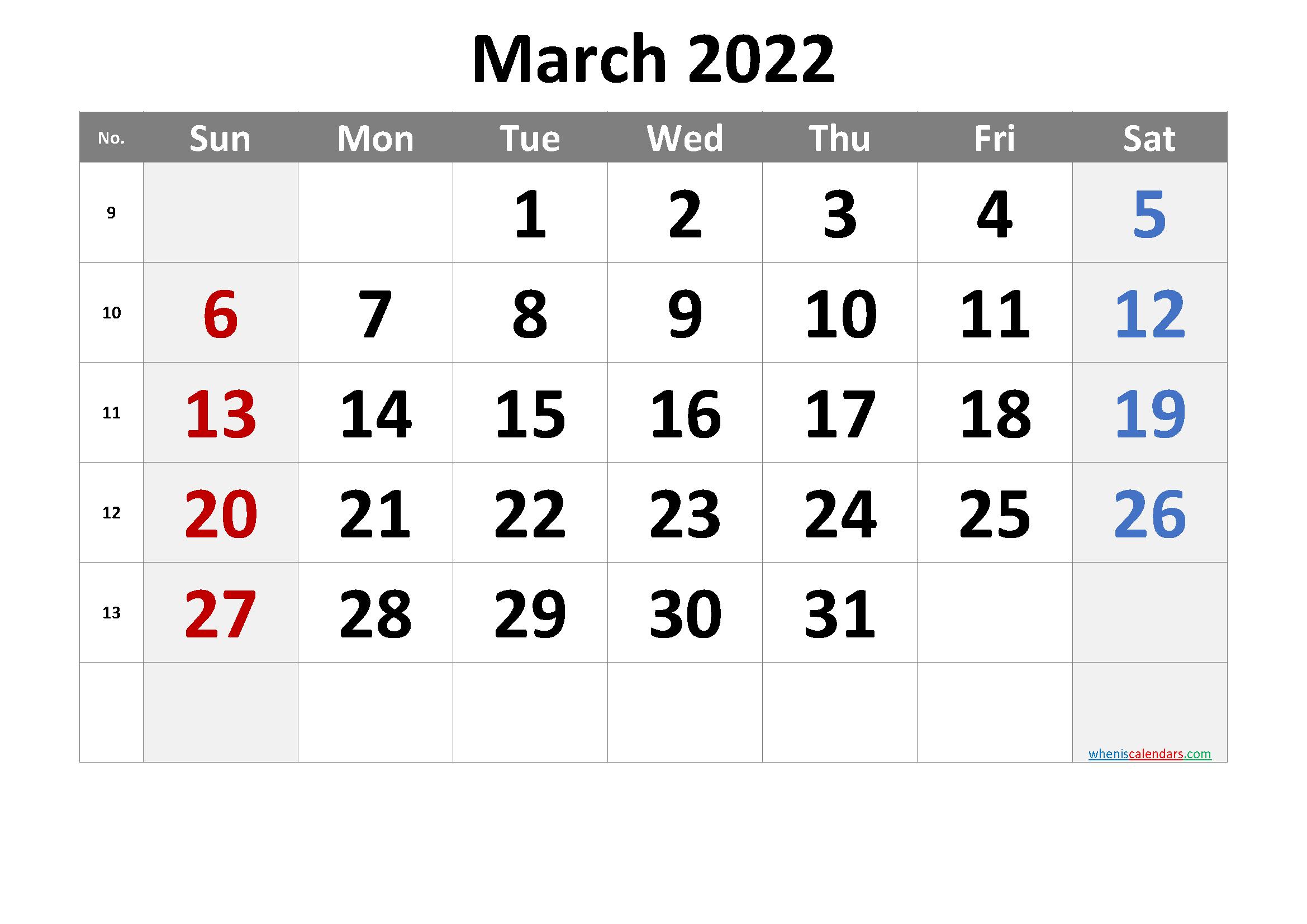 March 2022 Printable Calendar [Free Premium] for March 2022 Calendar Template Image