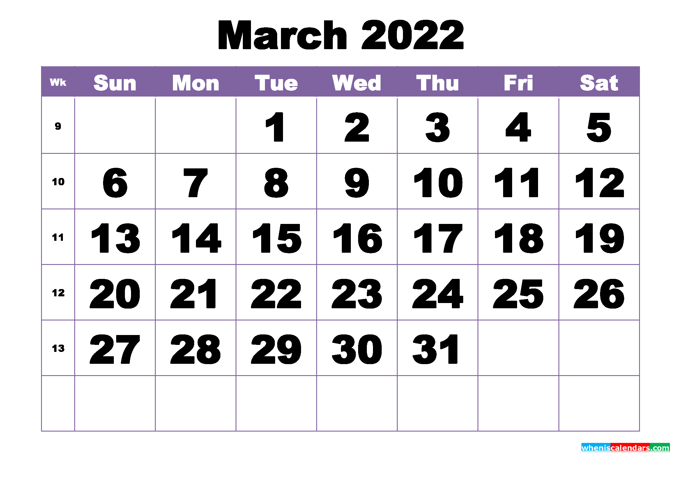 March 2022 Printable Calendar Template - Free Printable in 2022 2022 Monthly Planner Free Printable