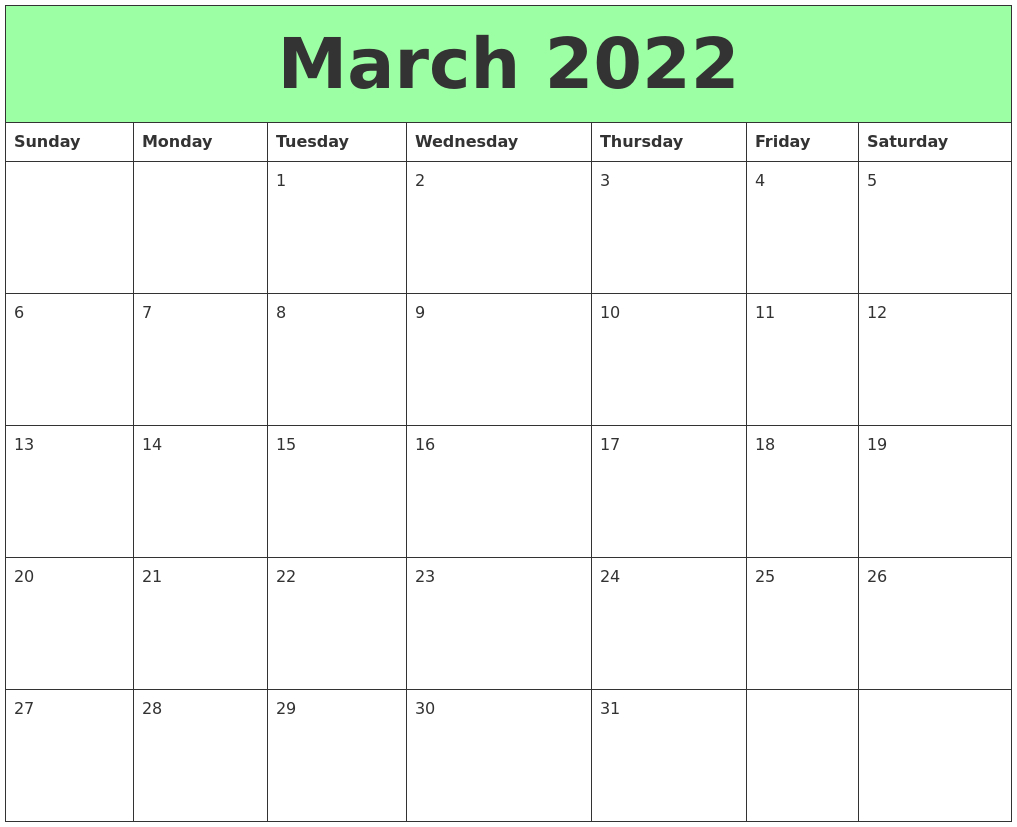 March 2022 Printable Calendars in March April 2022 Printable Calendar