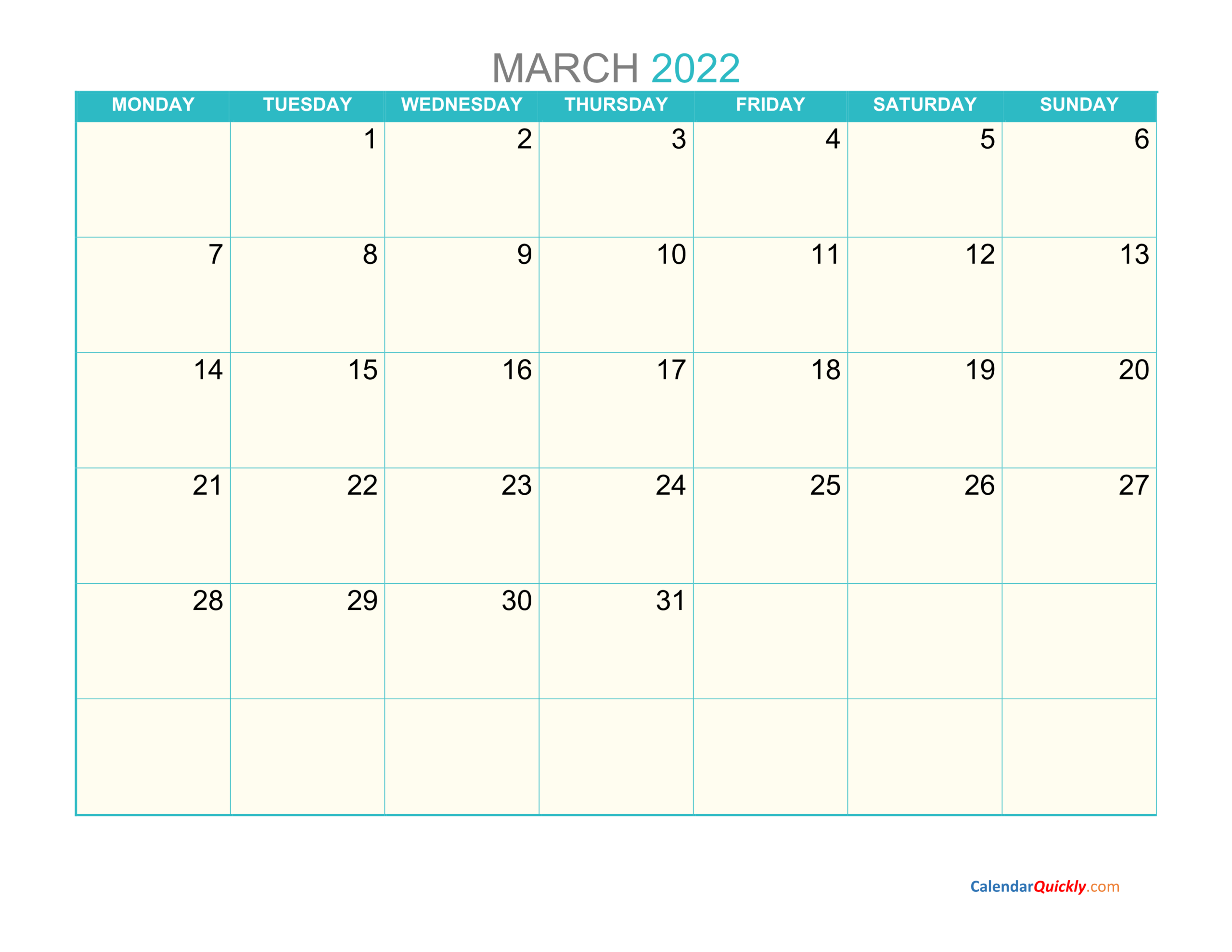 March Monday 2022 Calendar Printable | Calendar Quickly regarding 2022 March 2 Page Printable Calendar