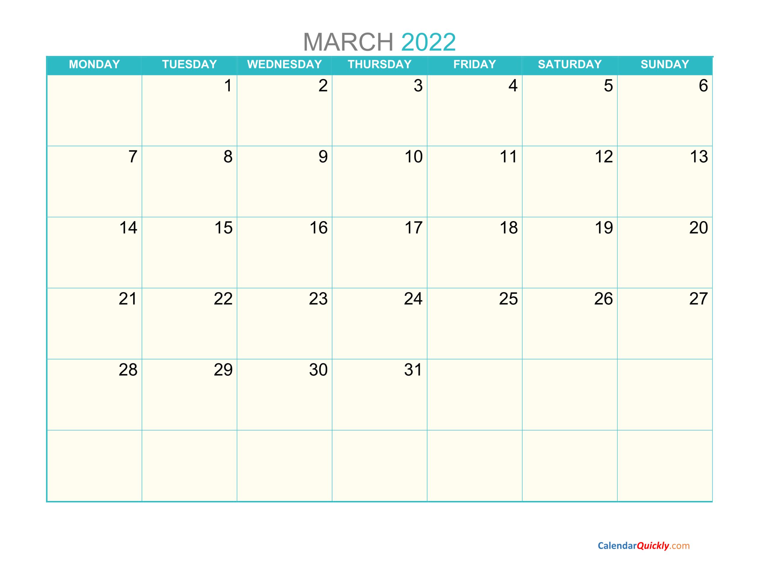 March Monday 2022 Calendar Printable | Calendar Quickly throughout March 2022 Calendar Template Image