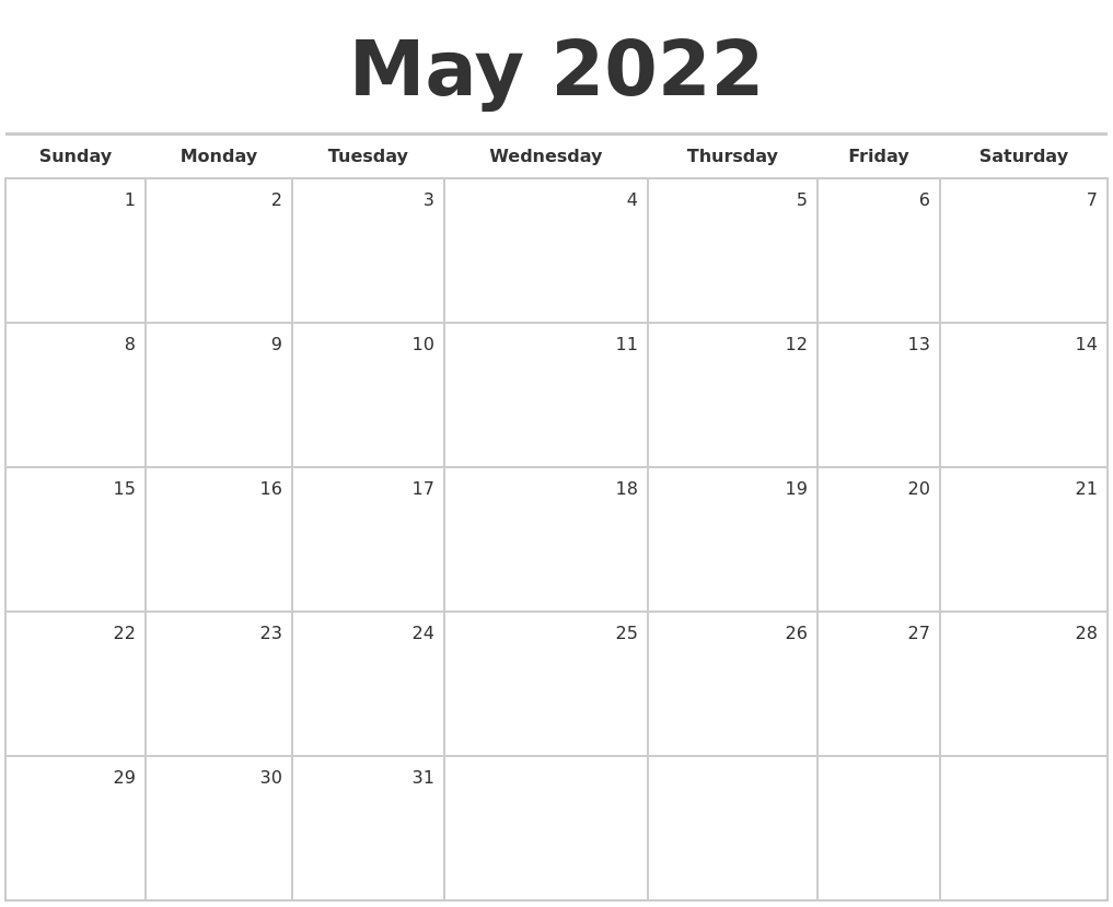 May 2022 Blank Monthly Calendar pertaining to Printable Calendar Month May 2022