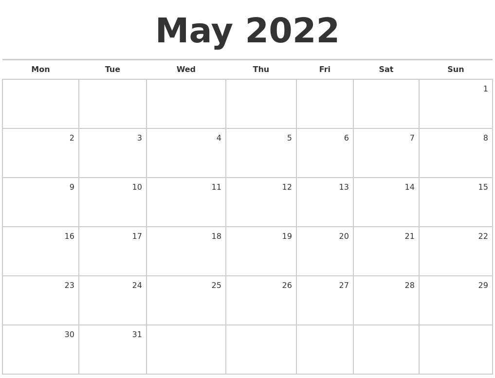 May 2022 Blank Monthly Calendar regarding Free Printable Monthly Planner 2022