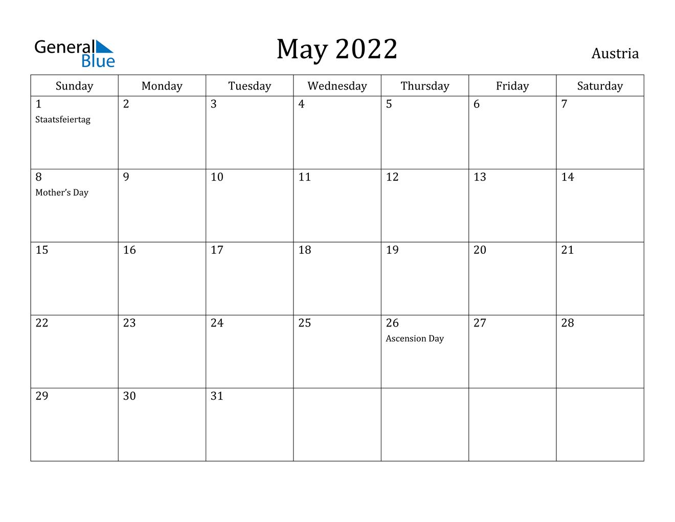 May 2022 Calendar - Austria inside May 2022 Calendar Template Image