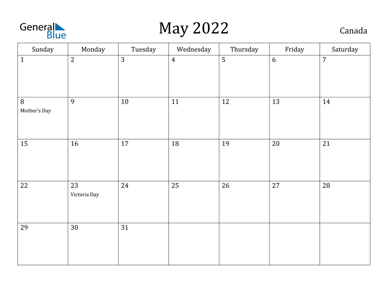 May 2022 Calendar - Canada with Printable Mayl 2022 Calendar