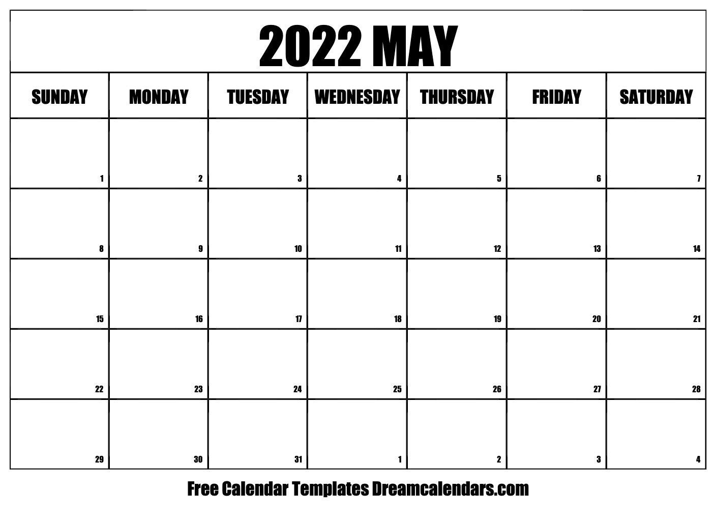 May 2022 Calendar   Free Blank Printable Templates regarding Free Printable Printable Pdf January 2022 Calendar