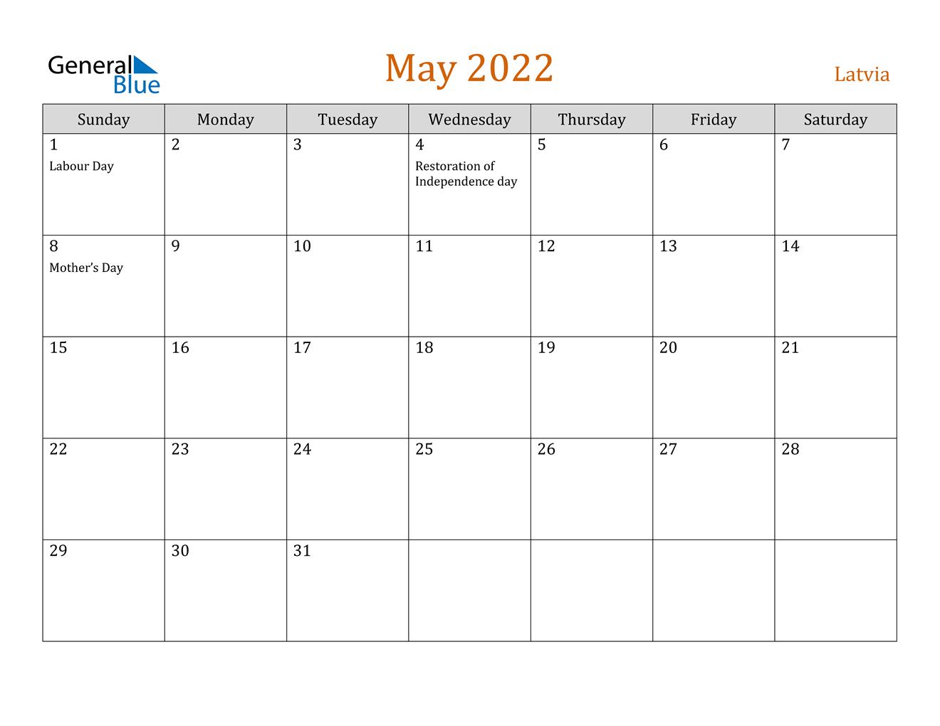May 2022 Calendar - Latvia throughout Printable Calendar Month May 2022