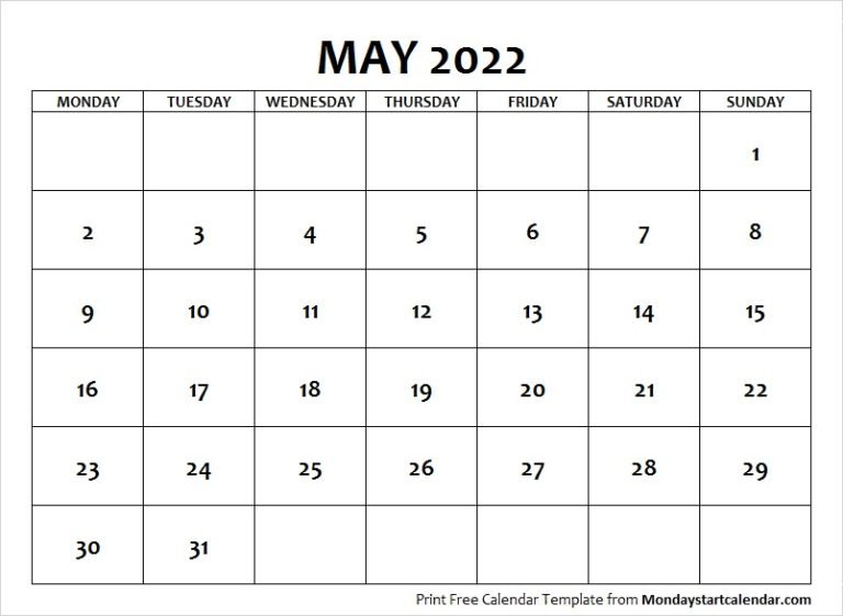 May 2022 Calendar Monday Start   May Month Template throughout May 2022 Calendar Template