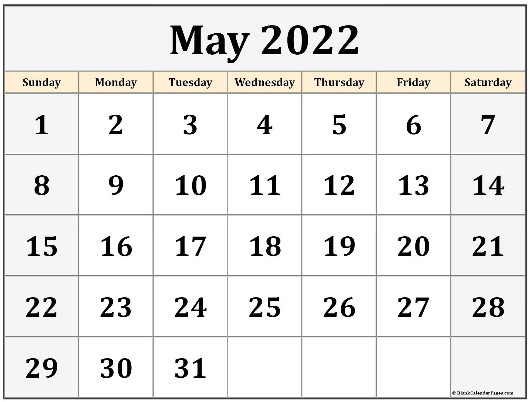 May 2022 Calendar Printable   Free Printable Calendar Monthly in Printable Mayl 2022 Calendar Image