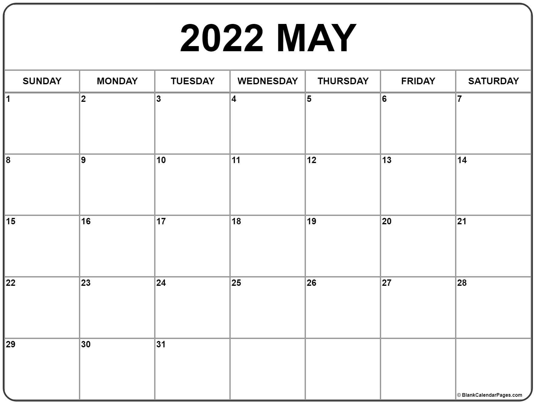 May 2022 Calendar Printable | Free Printable Calendar Monthly inside May 2022 Calendar Printable Photo