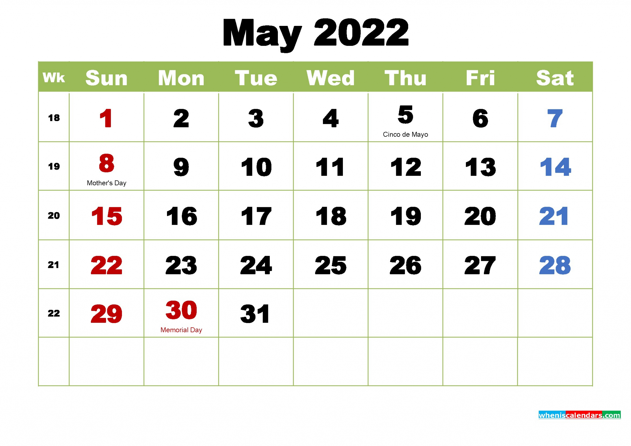 May 2022 Calendar Printable | Free Printable Calendar Monthly regarding May 2022 Calendar Printable Photo