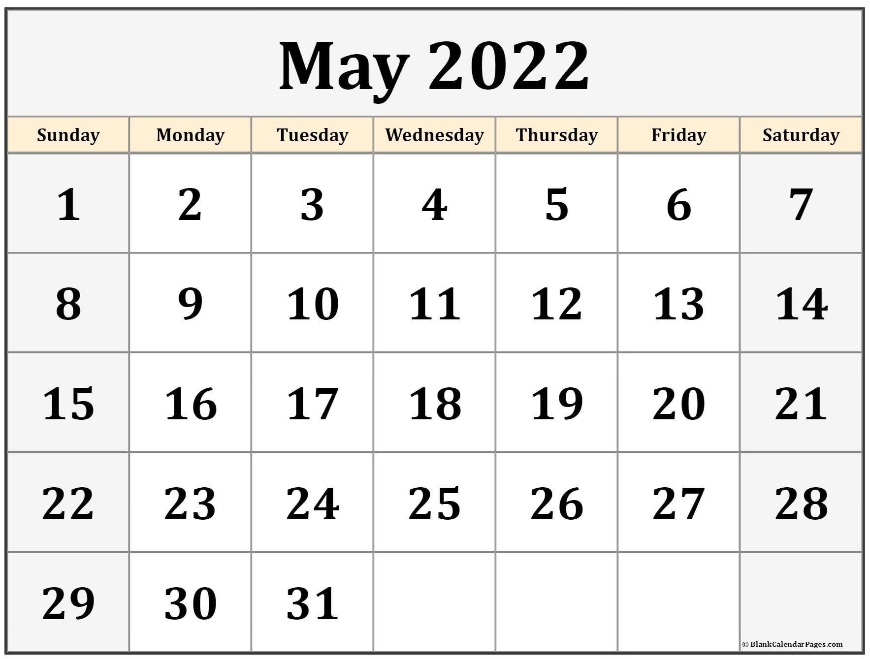 May 2022 Calendar Printable | Free Printable Calendar Monthly throughout Printable Calendar May 2022